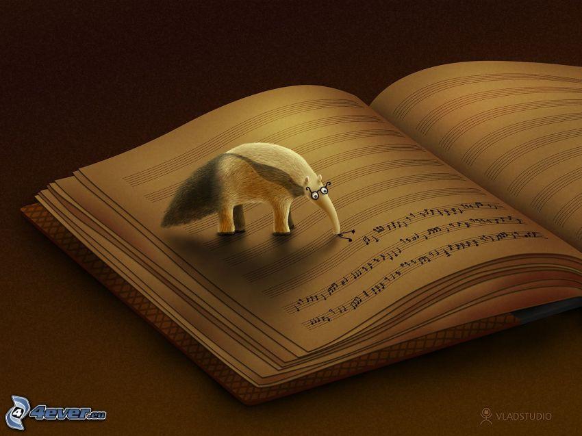 libro, notas de música, animal