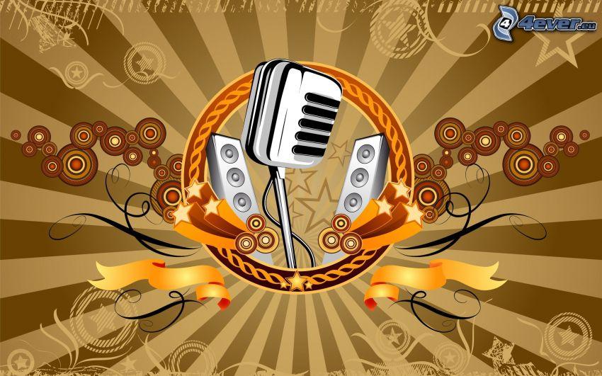 micrófono, altavoces, círculos, líneas