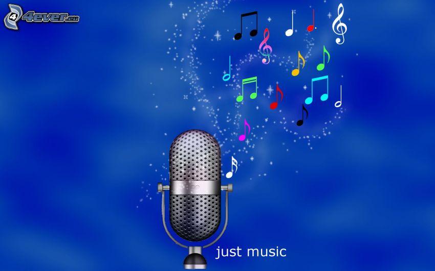 micrófono, notas de música