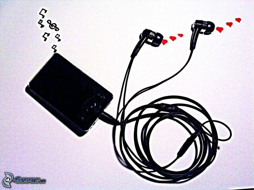 mp3 player, auriculares, notas de música, corazones