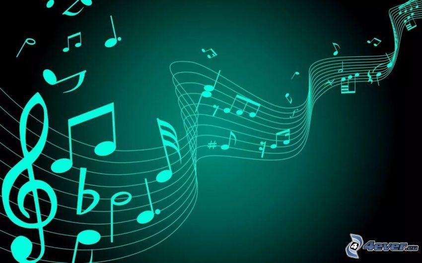 notas de música, clave de sol, fondo verde