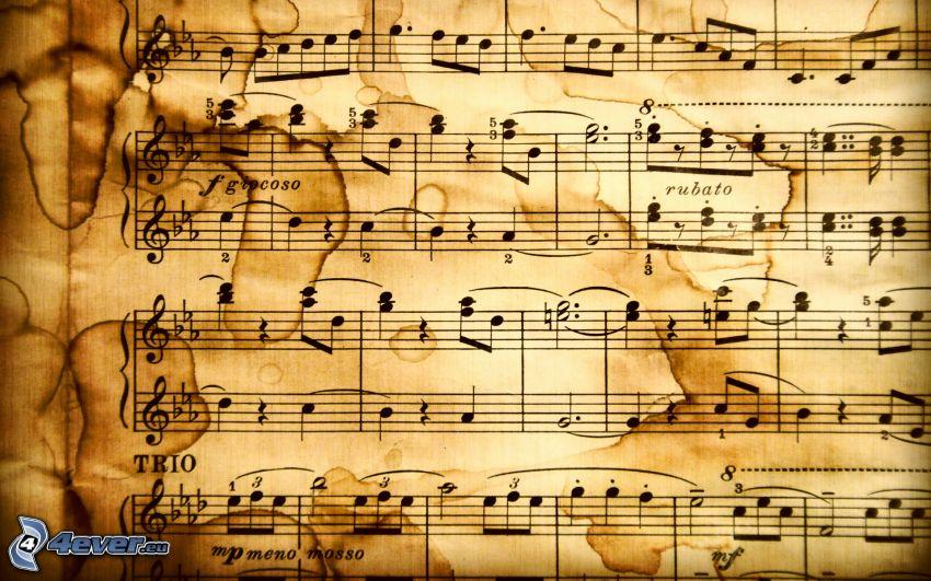 notas de música, clave de sol, manchas
