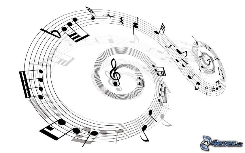 notas de música, clave de sol