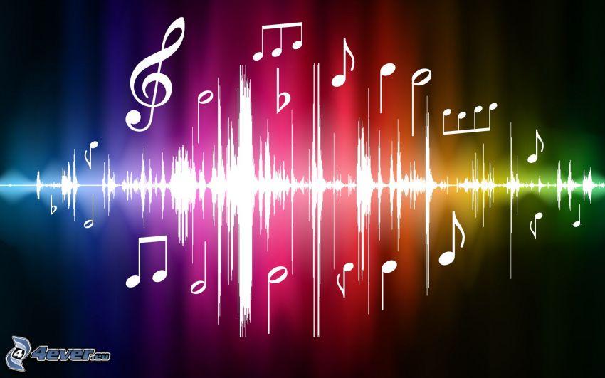 notas de música, colores del arco iris