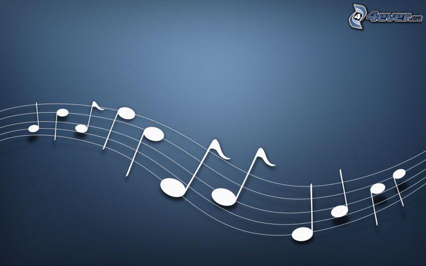 notas de música, fondo azul