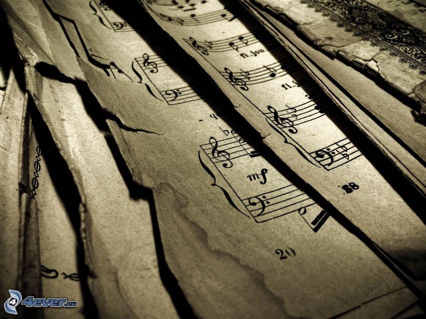 notas de música, papeles