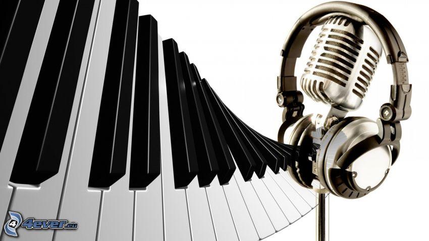 piano, micrófono, auriculares