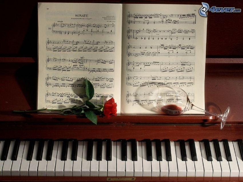 piano, notas de música, rosa, vino