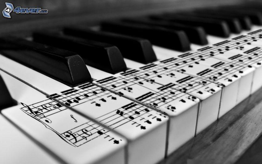 piano, notas de música