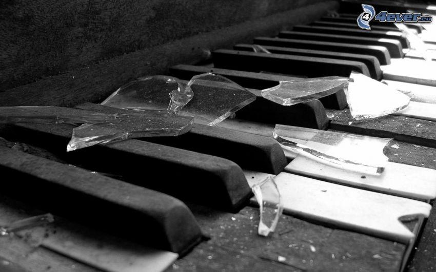 piano viejo, pedazos, vidrio roto