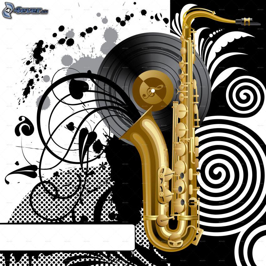 saxofón, disco de vinilo
