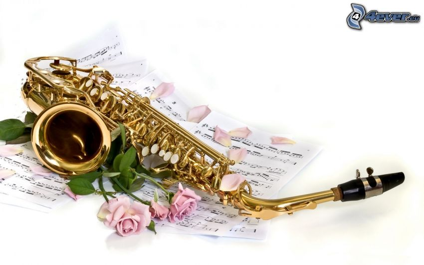 saxofón, notas de música, rosas