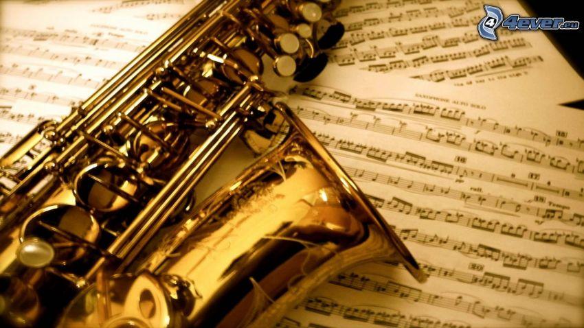 saxofón, notas de música