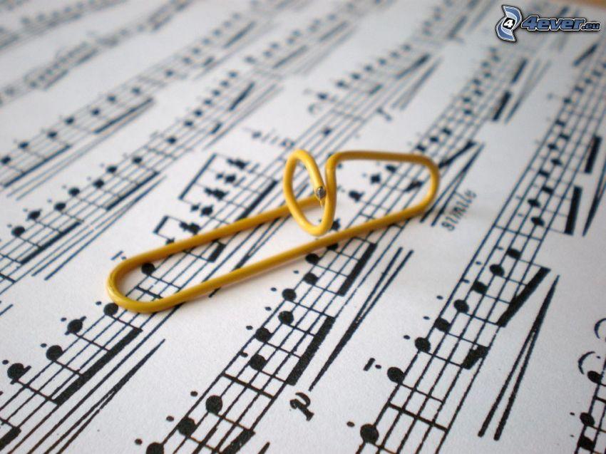 trombón, notas de música