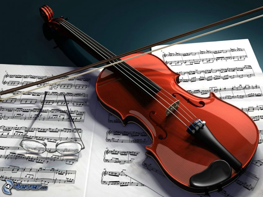 violín, notas de música