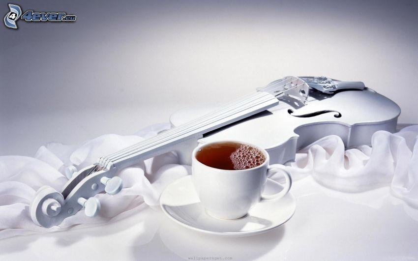 violín, taza de té