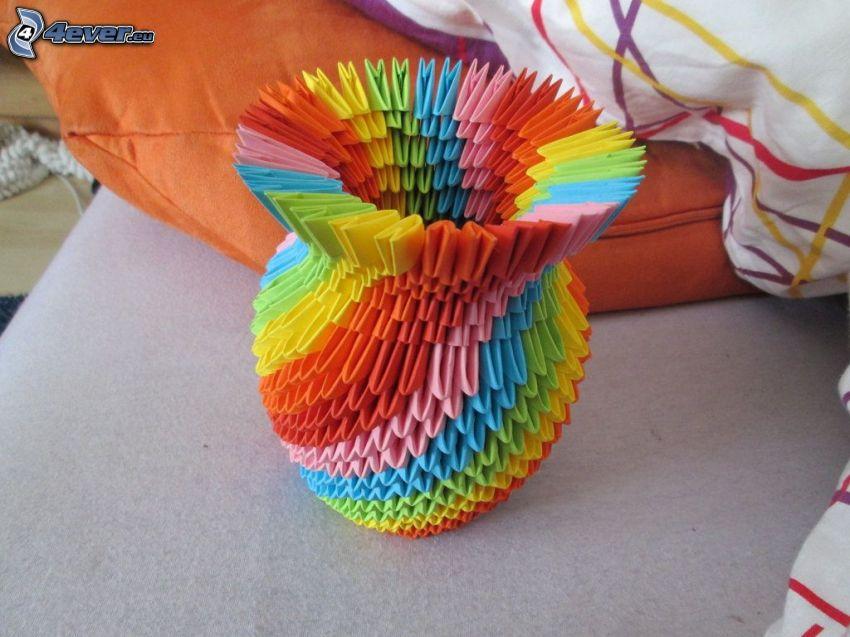 origami, papel de color, florero