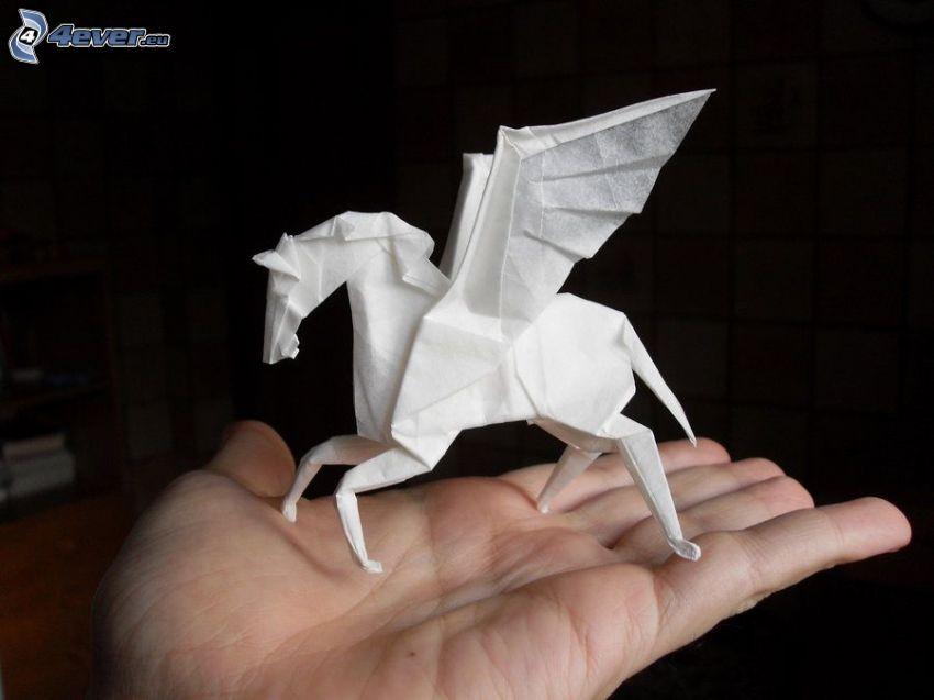 Pegaso, origami, alas, mano