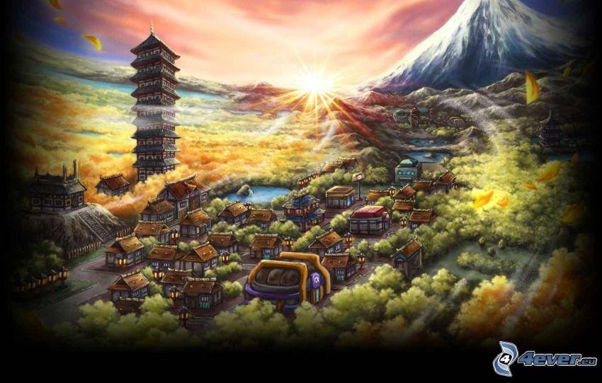 Pueblo chino, casas, montaña, puesta del sol, bosque