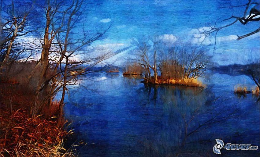 río, islas, dibujo