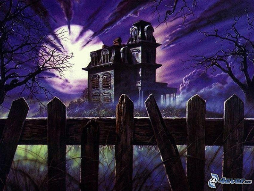 The Addams Family, casa de miedo, cerca de madera vieja, Luna llena