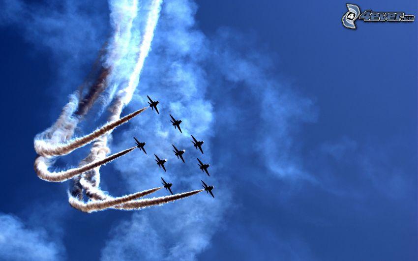 air show, marcas de condensación
