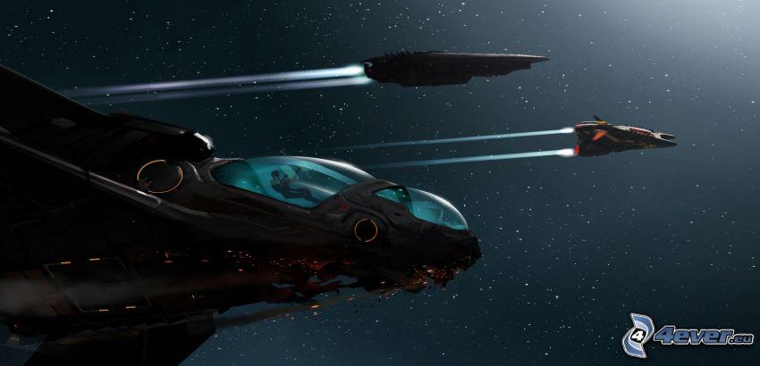 astronave, cielo estrellado, ciencia ficción