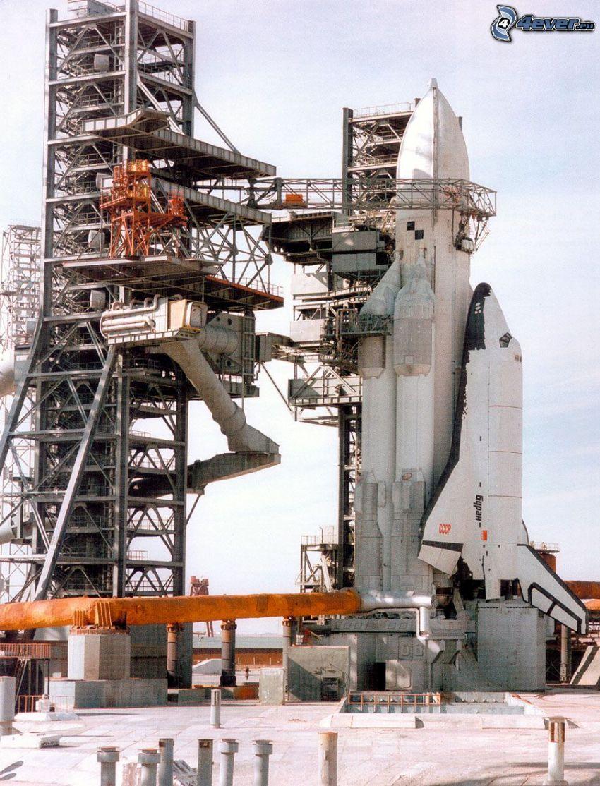 transbordador espacial Buran ruso, rampa de lanzamiento, cohete portador Energia