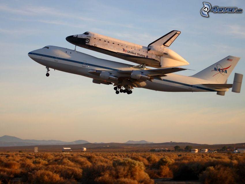 transporte del trasbordador, transbordador espacial Atlantis, Boeing 747, NASA