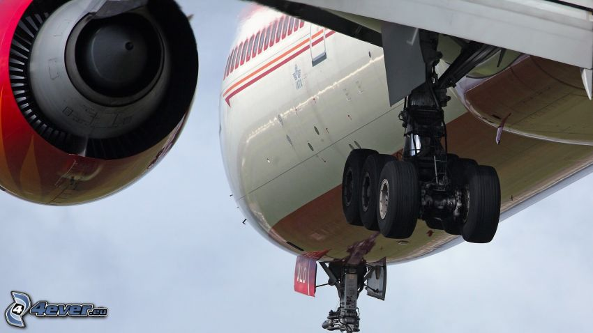 avión, chasis, motor de reacción