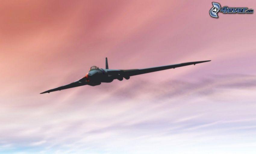 avión, cielo de color rosa
