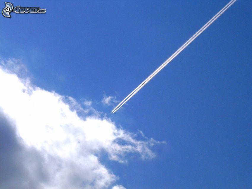avión, nube, marcas de condensación
