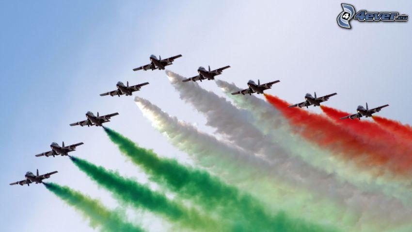 aviones, humo colorido