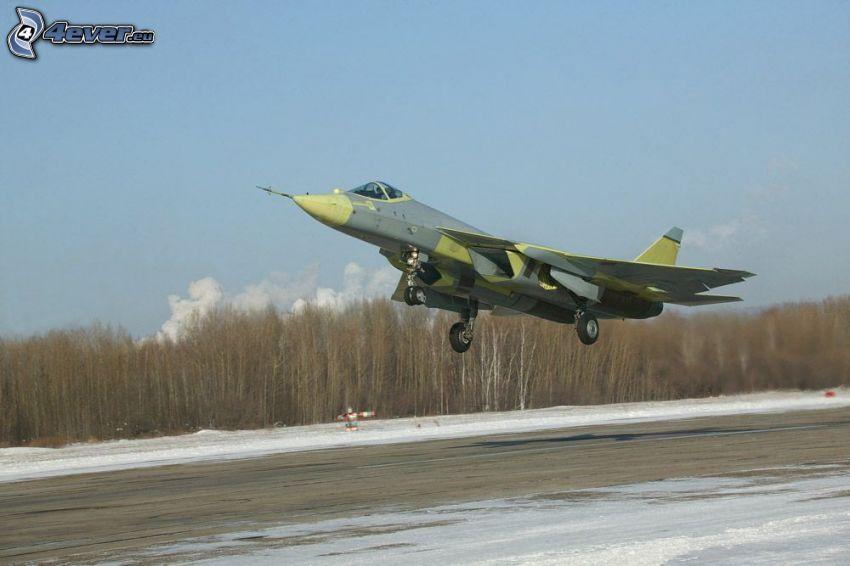 avion de caza, despegue, nieve