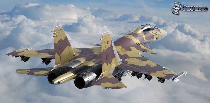 avion de caza, encima de las nubes
