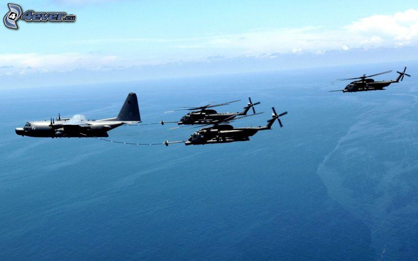 avion de caza, helicópteros militares