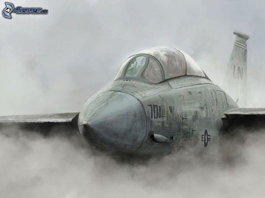 avion de caza, humo, Foto en blanco y negro