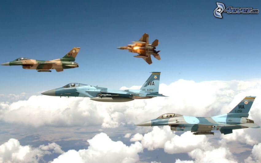 aviones de caza, encima de las nubes