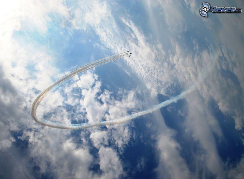 aviones de caza, marcas de condensación, nubes