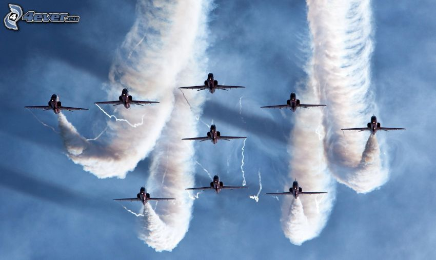 aviones de caza, marcas de condensación