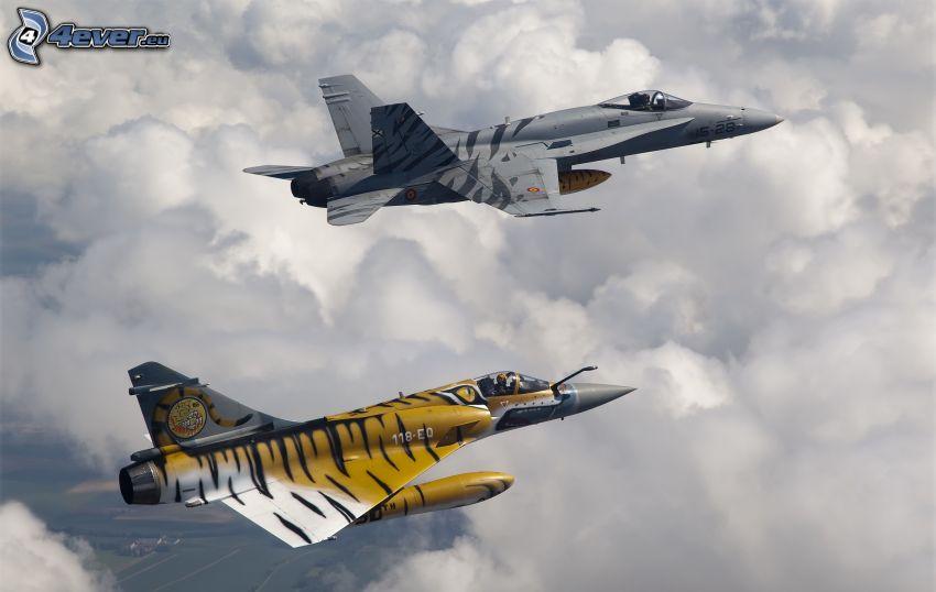 aviones de caza, nubes