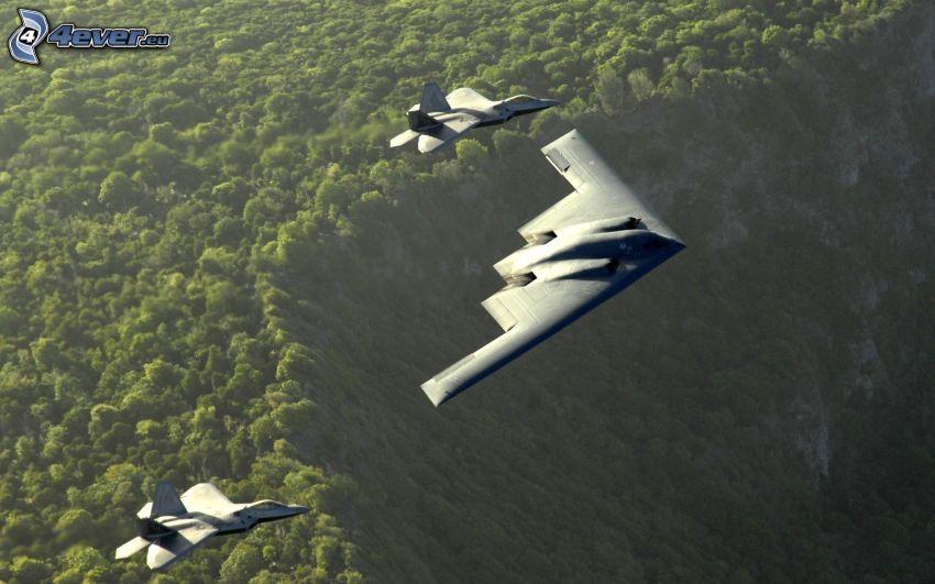 B-2 Spirit, F-22 Raptor
