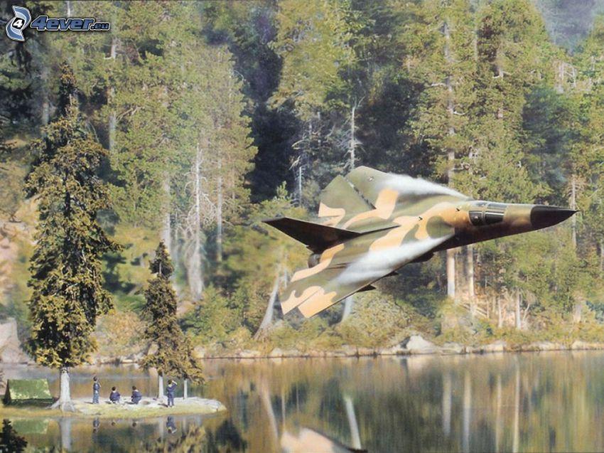 F-111 Aardvark, lago, bosques de coníferas