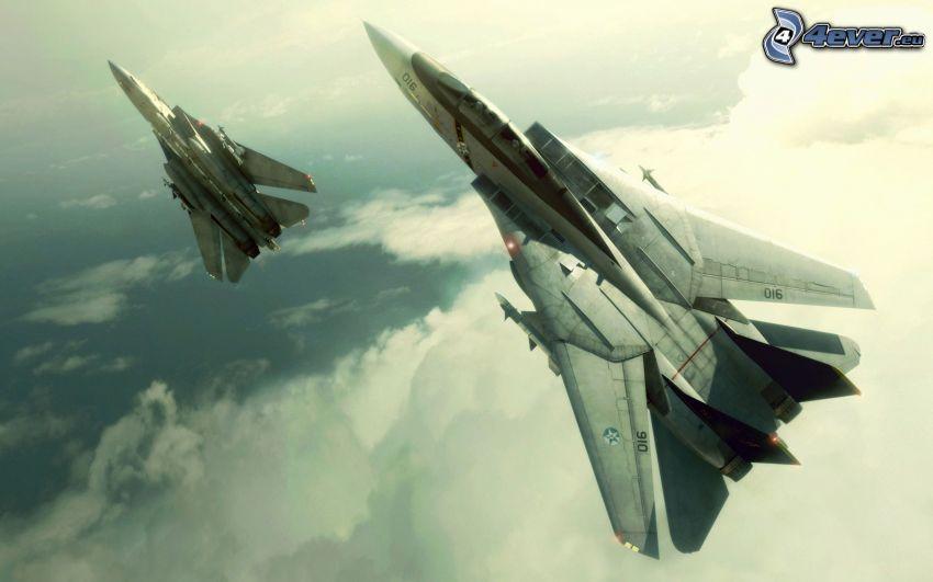 F-14 Tomcat, aviones de caza, nubes