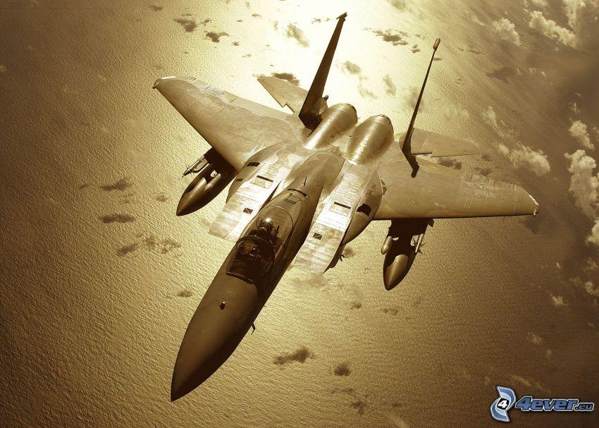 F-15 Eagle, avión, mar, nubes