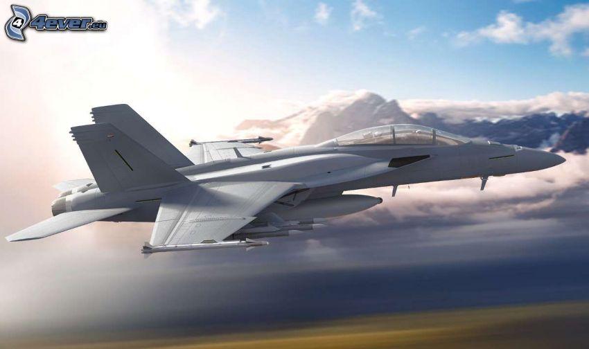 F/A-18E Super Hornet, montañas