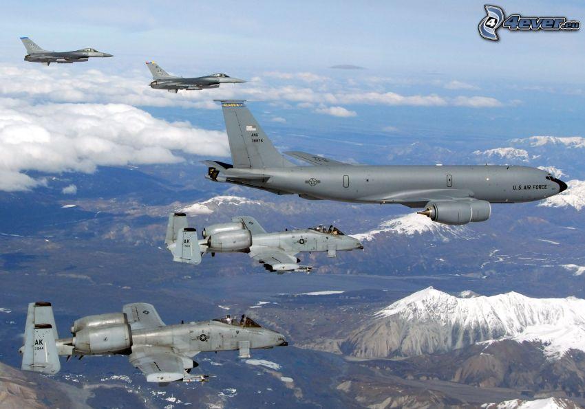 formación, A-10 Thunderbolt II, Boeing KC-135 Stratotanker, F-15 Eagle