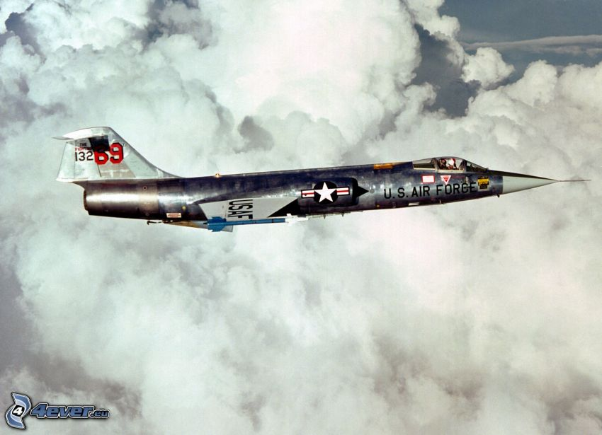 Lockheed F-104 Starfighter, avion de caza, nubes