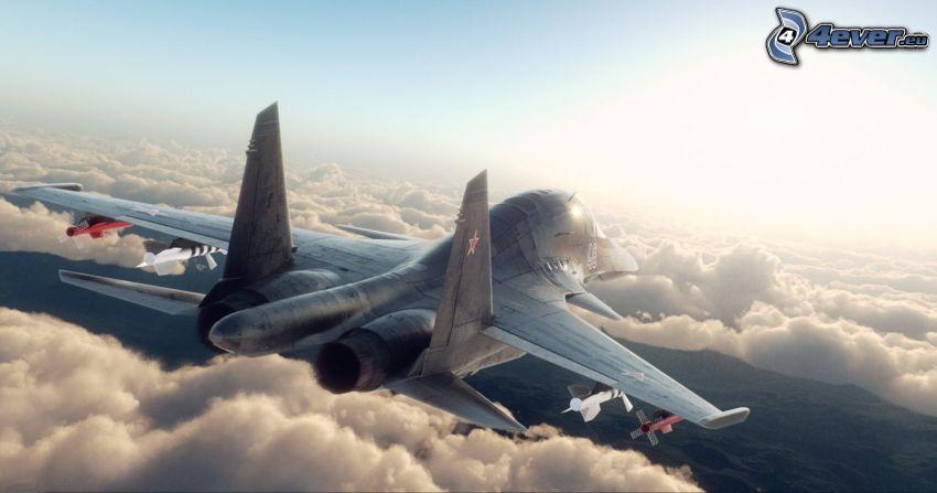 Sukhoi Su-34, encima de las nubes