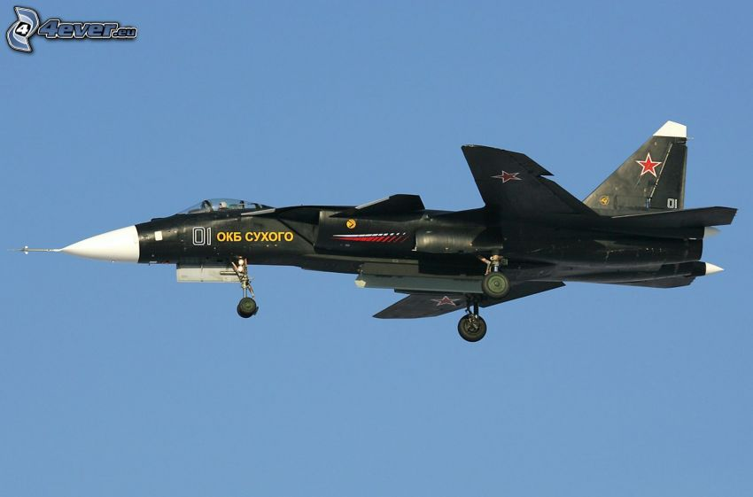 Sukhoi Su-47, avion de caza, cielo azul